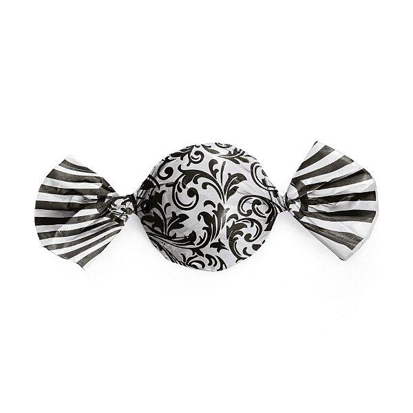 Papel Trufa Arabesco Preto Branco 15x16cm - 100 unidades - Cromus - Rizzo Embalagens