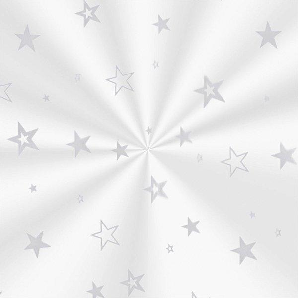 Saco Decorado Estrela Prata - 15x29cm - 100 unidades - Cromus - Rizzo Embalagens