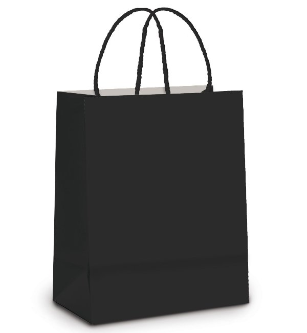 Sacola de Papel P 21,5x15x8cm - Preto - 10 unidades - Cromus - Rizzo Embalagens