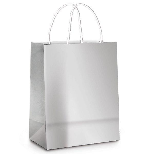 Sacola de Papel P 21,5x15x8cm -Prata Metalizado - 10 unidades - Cromus - Rizzo Embalagens
