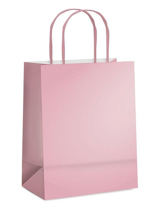 Sacola de Papel P 21,5x15x8cm - Rosa Vellho Metalizado Fosco - 10 unidades - Cromus - Rizzo Embalagens