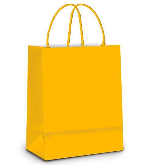 Sacola de Papel M 26x19,5x9,5cm - Amarelo Escuro - 10 unidades - Cromus - Rizzo Embalagens