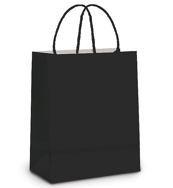 Sacola de Papel G 32x26,5x13cm - Preto - 10 unidades - Cromus - Rizzo Embalagens