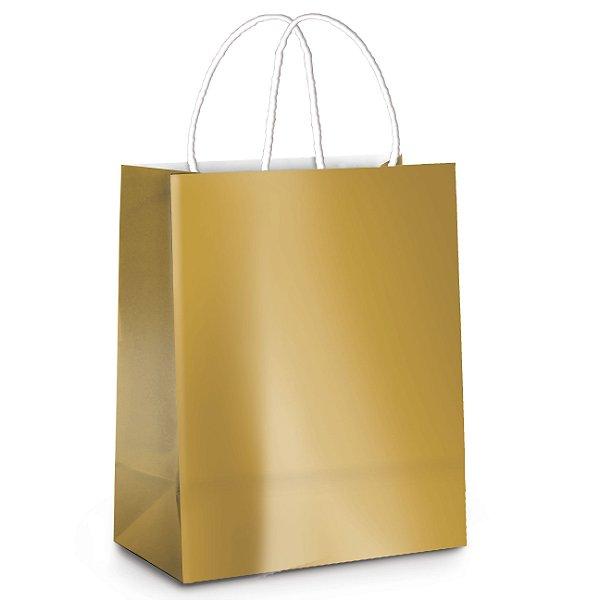 Sacola de Papel G 32x26,5x13cm -Ouro Metalizado - 10 unidades - Cromus - Rizzo Embalagens