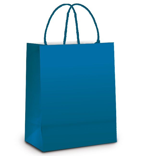 Sacola de Papel G 32x26,5x13cm - Azul Intenso Metalizado Fosco - 10 unidades - Cromus - Rizzo Embalagens