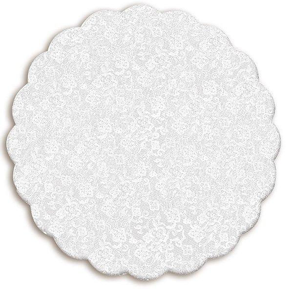 Fundo Rendado Redondo Branco 42cm - 100 unidades - Cromus - Rizzo Embalagens