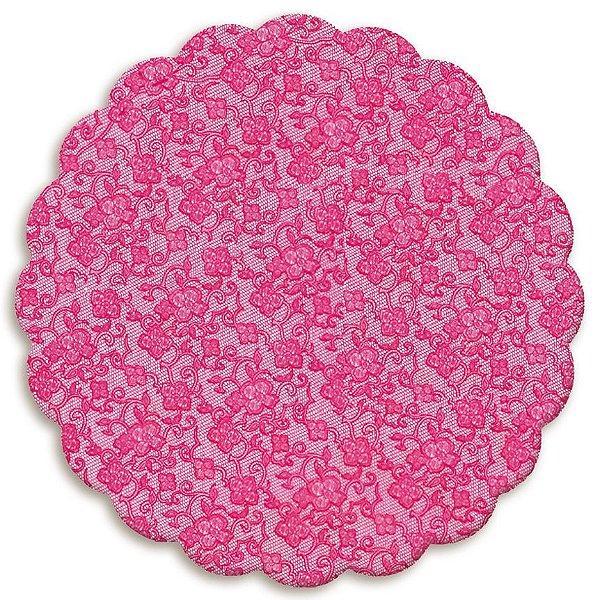 Fundo Rendado Redondo Pink 9cm - 100 unidades - Cromus - Rizzo Embalagens