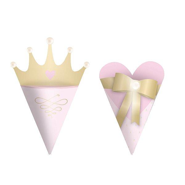 Mini Cone Festa Reinado da Princesa - 24 unidades - Cromus - Rizzo Festas