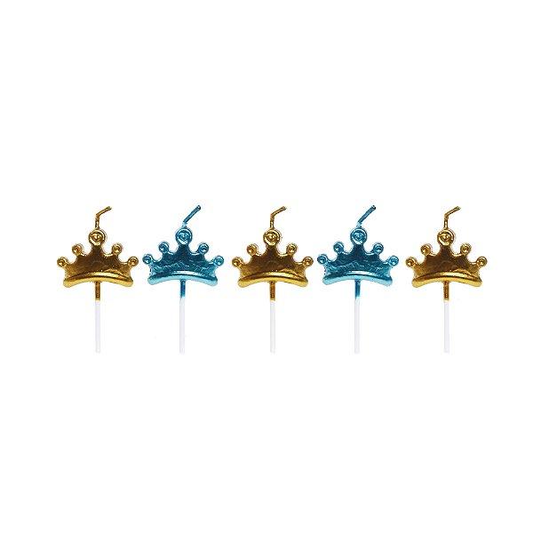 Vela 2D Mini Coroa Metalizada Festa Reinado do Príncipe - Cromus - Rizzo Festas