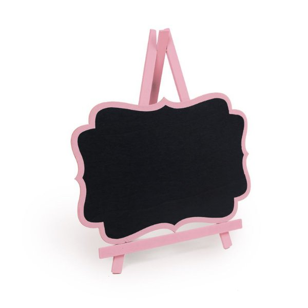 Lousa para Personalizar Cavalete com Borda Rosa Claro G - 01 unidade - Cromus - Rizzo Festas