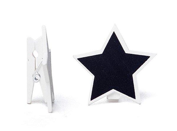 Lousa para Personalizar Prendedor Estrela Branca - 06 unidades - Cromus - Rizzo Festas
