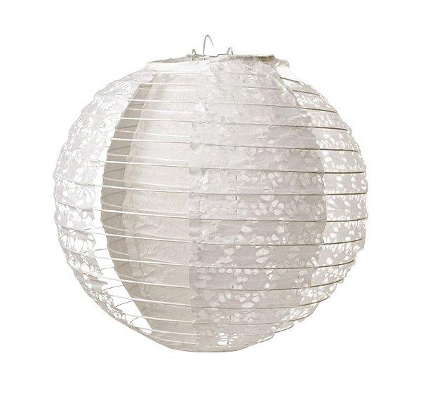 Lanterna de Papel Rendado Branco 30cm - 01 unidade - Cromus - Rizzo Festas