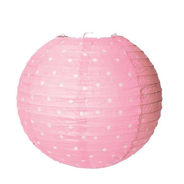 Lanterna de Papel Poá Rosa 25cm - 01 unidade - Cromus - Rizzo Festas