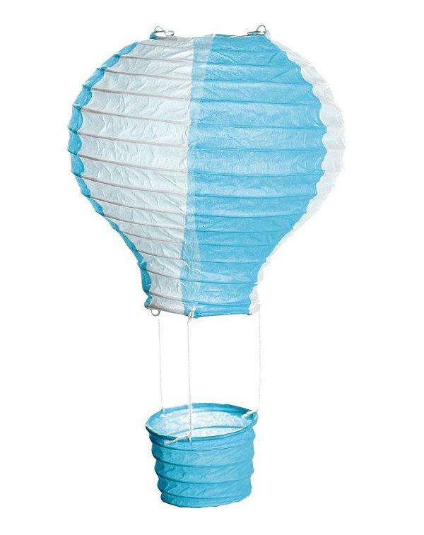 Lanterna de Papel Balão Azul e Branco M 25x25cm - 01 unidade - Cromus - Rizzo Festas