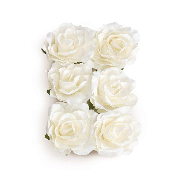 Flor Decorativa de Papel Branco 06cm - 06 unidades - Cromus - Rizzo Festas