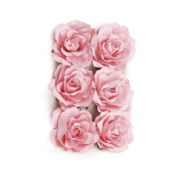 Flor Decorativa de Papel Rosa 06cm - 06 unidades - Cromus - Rizzo Festas