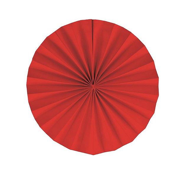 Leque Decorativo de Papel Vermelho 25cm - 02 unidades - Cromus - Rizzo Festas