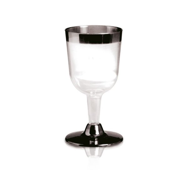 Taça de Vinho com Borda e Base Prata 160ml - 06 unidades - Descartáveis de Luxo - Cromus - Rizzo Festas