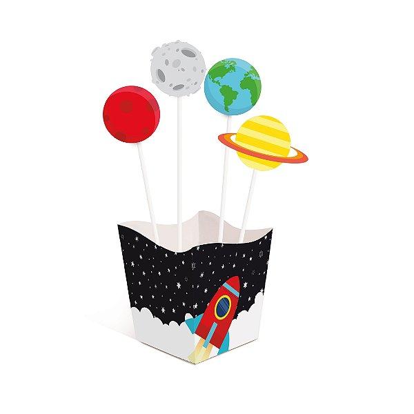 Kit Cachepot c Pick Festa Astronauta - 4 unidades - Cromus - Rizzo Festas