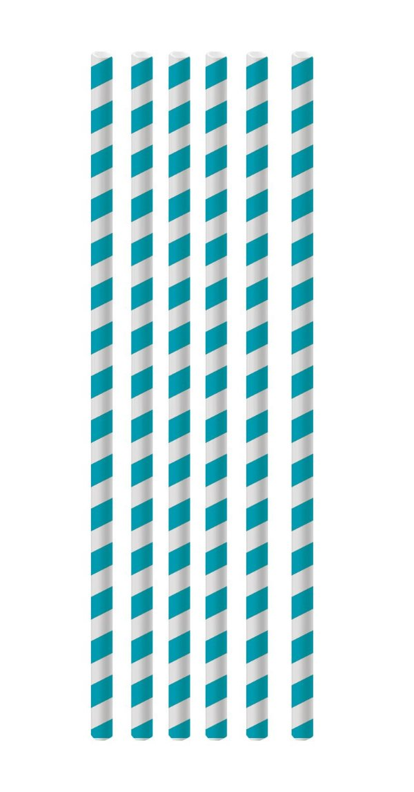 Canudo de Papel Listras Azul - 20 unidades - Cromus - Rizzo Festas