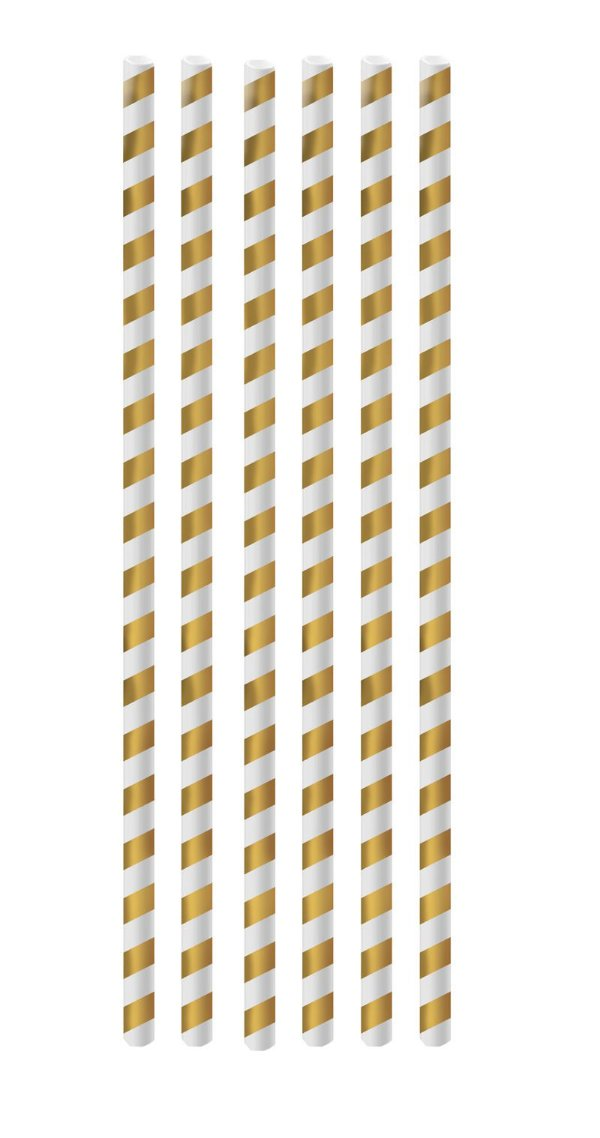 Canudo de Papel Listras Dourado - 20 unidades - Cromus - Rizzo Festas