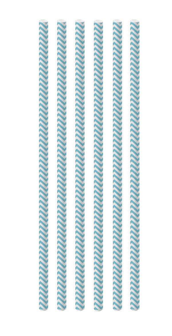 Canudo de Papel Missoni Azul Claro - 20 unidades - Cromus - Rizzo Festas
