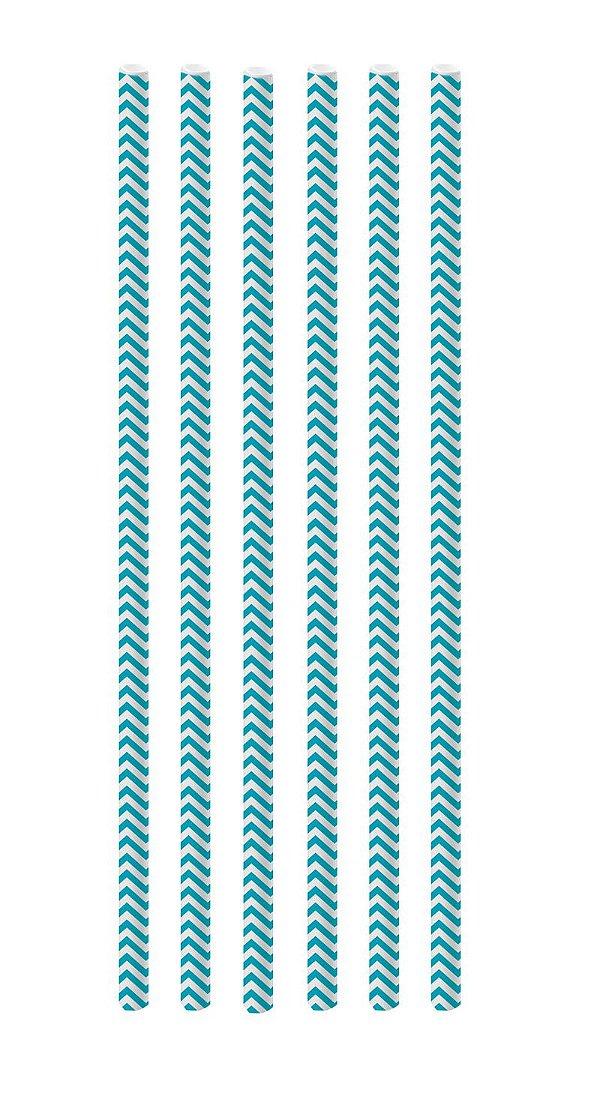 Canudo de Papel Missoni Azul Turquesa - 20 unidades - Cromus - Rizzo Festas