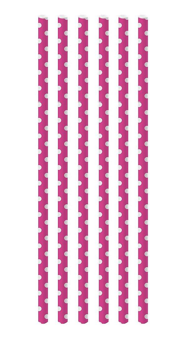 Canudo de Papel Poá Pink e Branco - 20 unidades - Cromus - Rizzo Festas