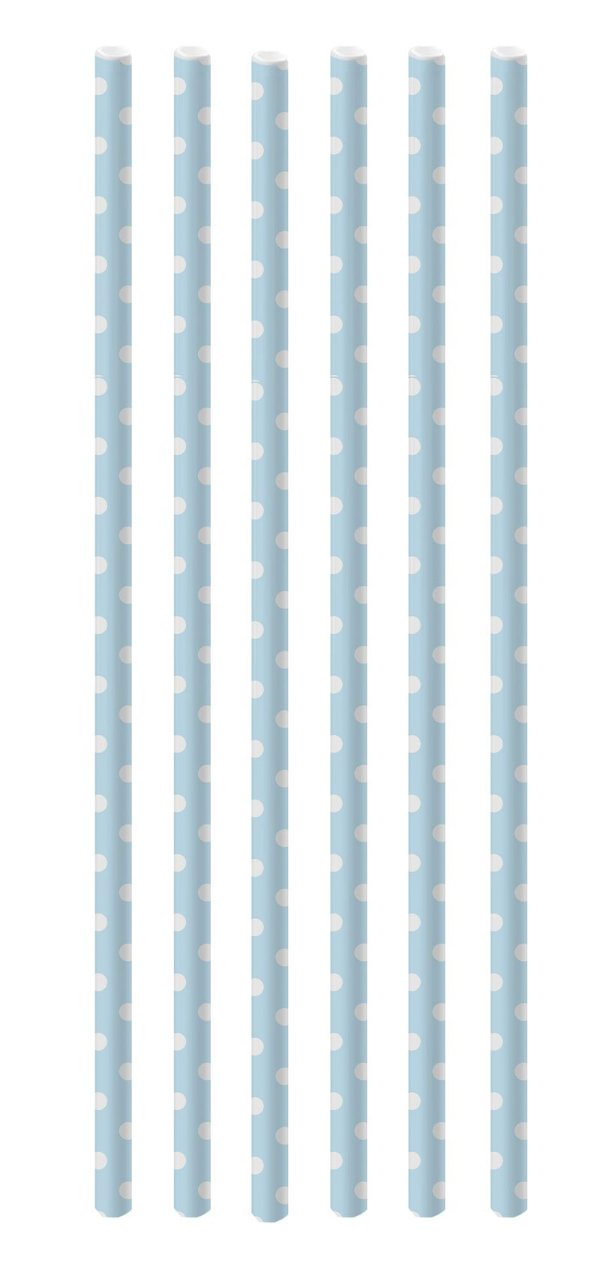 Canudo de Papel Poá Azul Claro e Branco - 20 unidades - Cromus - Rizzo Festas