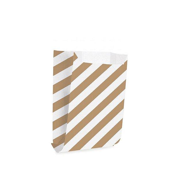 Saquinho de Papel para Mini Lanche - Listras Pardo - 50 unidades - Cromus - Rizzo Festas