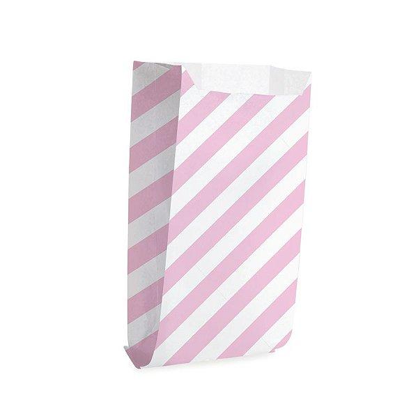 Saquinho de Papel para Pipoca - Listras Rosa - 50 unidades - Cromus - Rizzo Festas