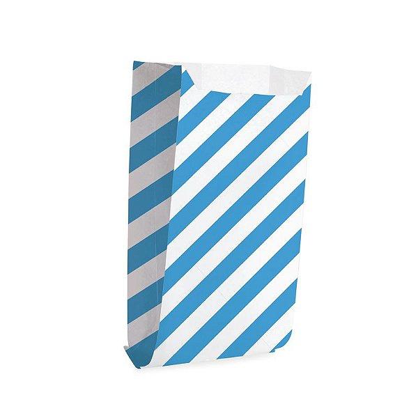 Saquinho de Papel para Pipoca - Listras Azul - 50 unidades - Cromus - Rizzo Festas