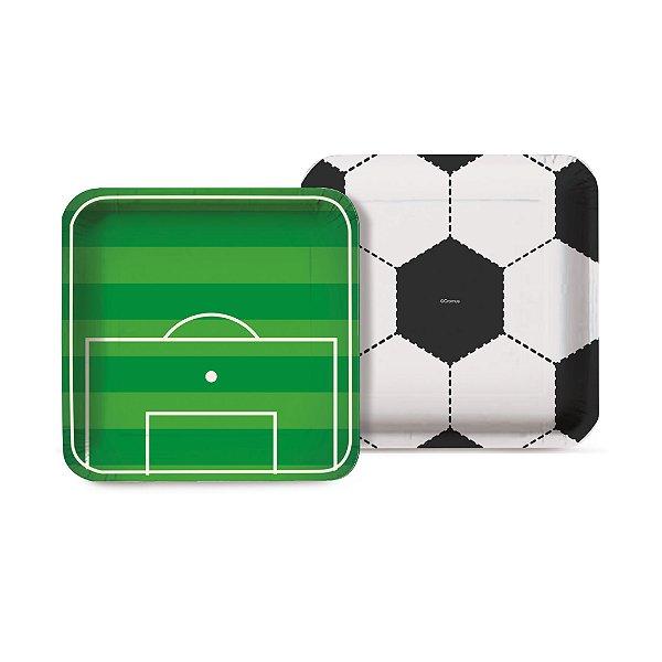 Prato Festa Futebol 18Cm - 8 unidades - Cromus - Rizzo Festas