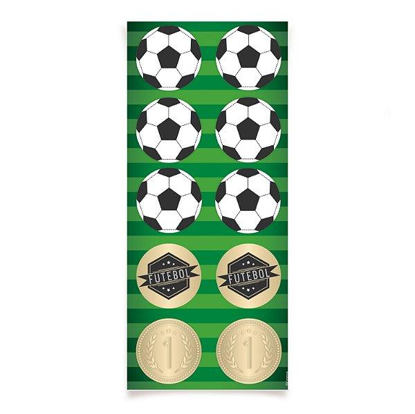 Adesivo Redondo para Lembrancinha Festa Futebol - 30 unidades - Cromus - Rizzo Festas