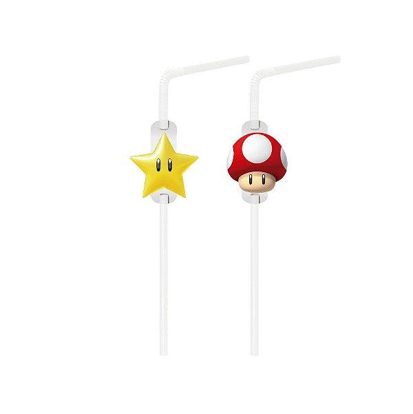 Canudo Festa Mario com Aplique - 20 unidades - Cromus - Rizzo Festas