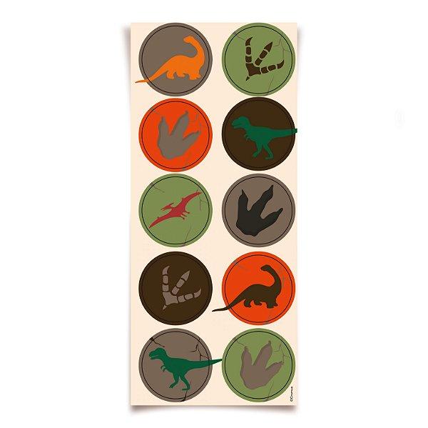 Adesivo Redondo para Lembrancinha Festa Dinossauro - 30 unidades - Cromus - Rizzo Festas