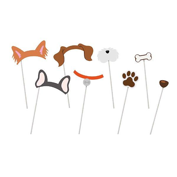 Plaquinhas Acessórios Festa Cachorrinhos Sortido - 8 unidades - Cromus - Rizzo Festas
