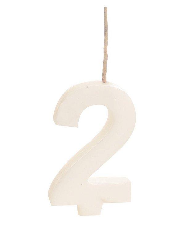 Vela de Aniversário nº2  Branco - 01 unidade - Cromus - Rizzo Festas