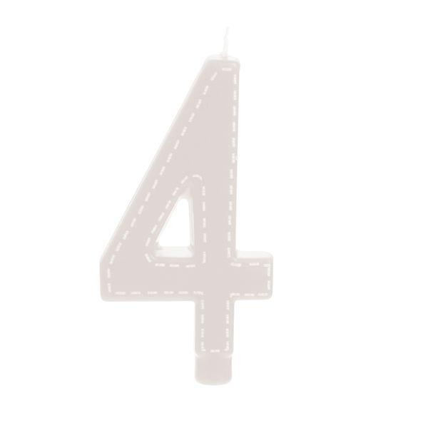 Vela de Aniversário nº4  Tracejada Branco G - 01 unidade - Cromus - Rizzo Festas