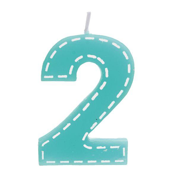 Vela de Aniversário nº2  Tracejada Turquesa P - 01 unidade - Cromus - Rizzo Festas