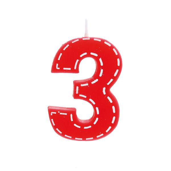 Vela de Aniversário nº3  Tracejada Vermelho P - 01 unidade - Cromus - Rizzo Festas