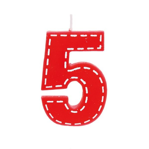 Vela de Aniversário nº5  Tracejada Vermelho P - 01 unidade - Cromus - Rizzo Festas