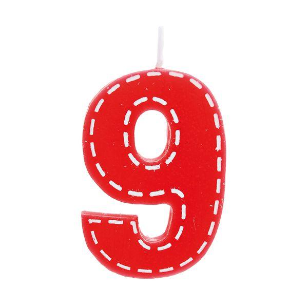Vela de Aniversário nº9  Tracejada Vermelho P - 01 unidade - Cromus - Rizzo Festas