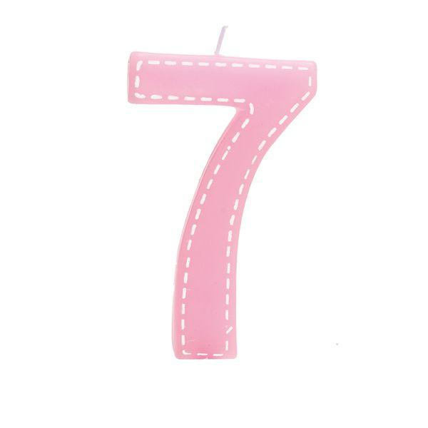 Vela de Aniversário nº7  Tracejada Rosa G - 01 unidade - Cromus - Rizzo Festas