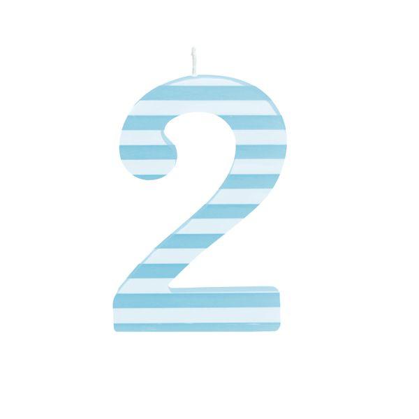 Vela de Aniversário nº2  Listrada Azul G - 01 unidade - Cromus - Rizzo Festas