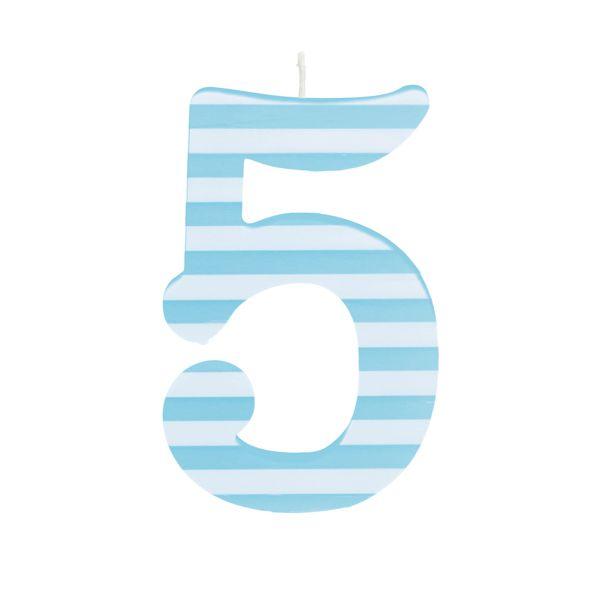 Vela de Aniversário nº5  Listrada Azul G - 01 unidade - Cromus - Rizzo Festas