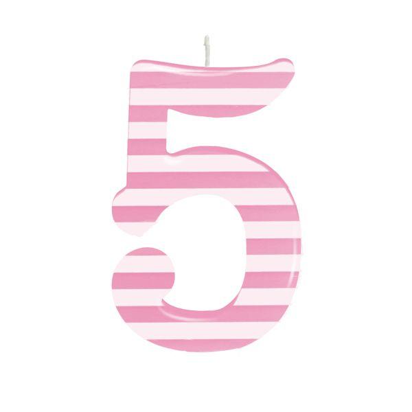 Vela de Aniversário nº5  Listrada Rosa G - 01 unidade - Cromus - Rizzo Festas