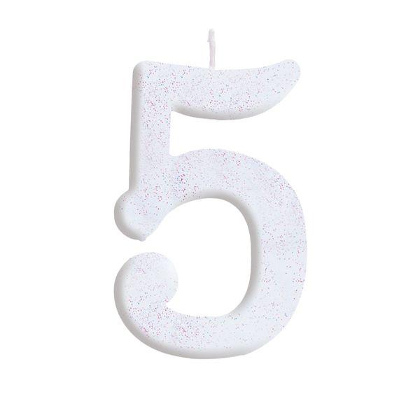 Vela de Aniversário nº5  Branca com Glitter G - 01 unidade - Cromus - Rizzo Festas