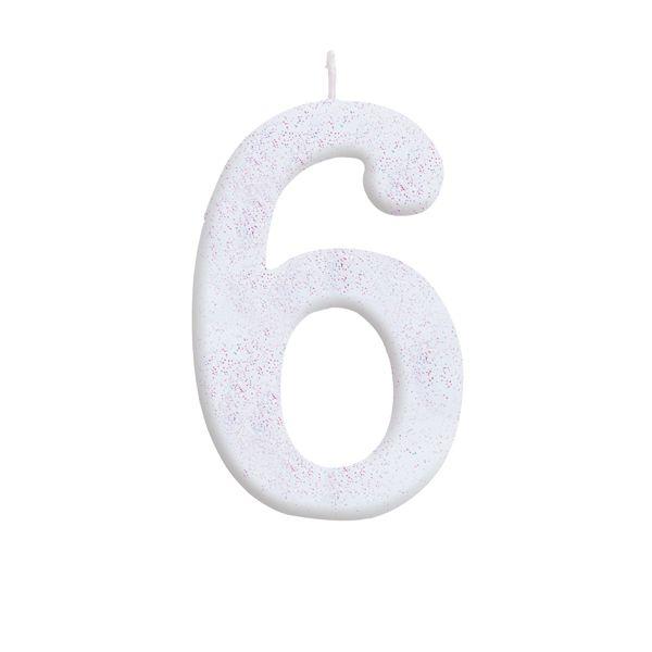 Vela de Aniversário nº6  Branca com Glitter G - 01 unidade - Cromus - Rizzo Festas