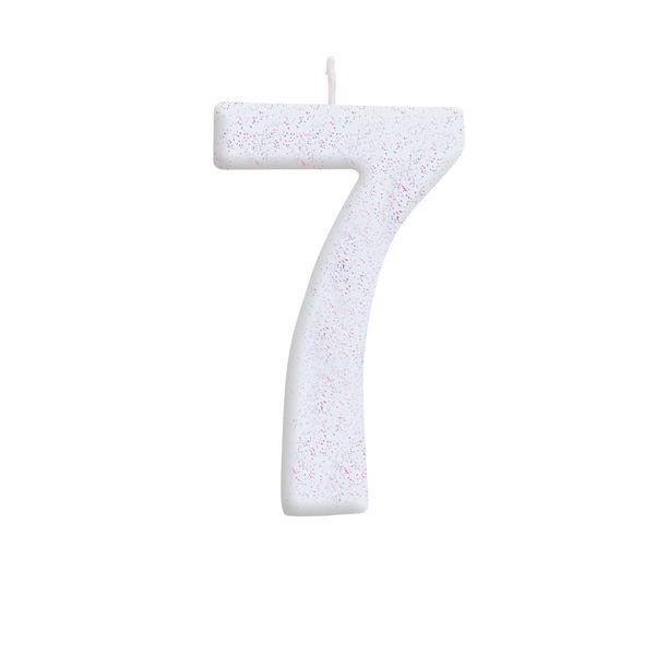 Vela de Aniversário nº7  Branca com Glitter G - 01 unidade - Cromus - Rizzo Festas